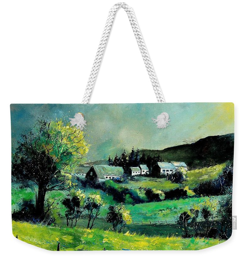 Spring Weekender Tote Bag featuring the painting Ardennes 79 by Pol Ledent