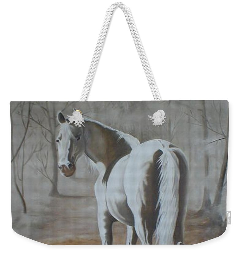 White Horse Looking Autumn Leaves Trees Avenue Shadows Weekender Tote Bag featuring the painting Are You Coming by Pauline Sharp