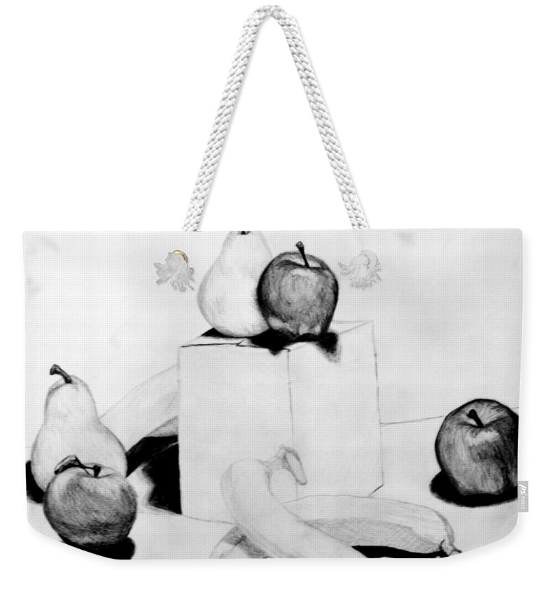 Apple Weekender Tote Bag featuring the drawing Aren't You Glad I Didn't Say Banana by Jean Haynes