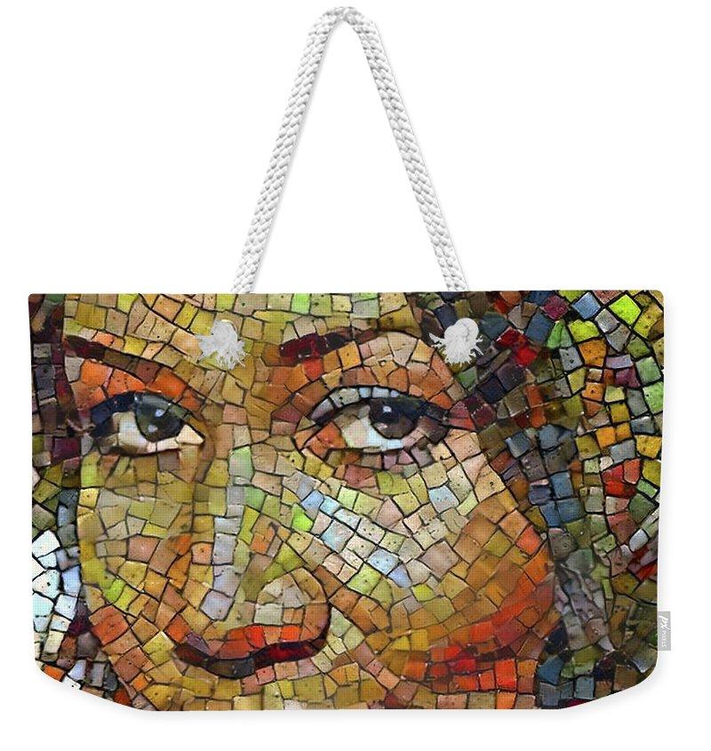 Aretha Weekender Tote Bag featuring the digital art Aretha Franklin Tribute Mosaic Portrait 2 by Yury Malkov