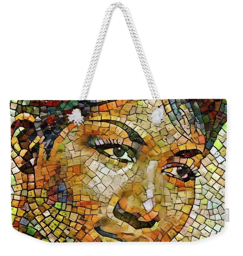 Aretha Weekender Tote Bag featuring the digital art Aretha Franklin Tribute Mosaic Portrait 3 by Yury Malkov