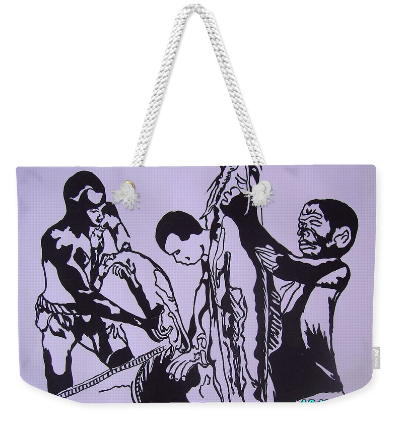 Festival Weekender Tote Bag featuring the painting Argungun Fish Festival by Olaoluwa Smith
