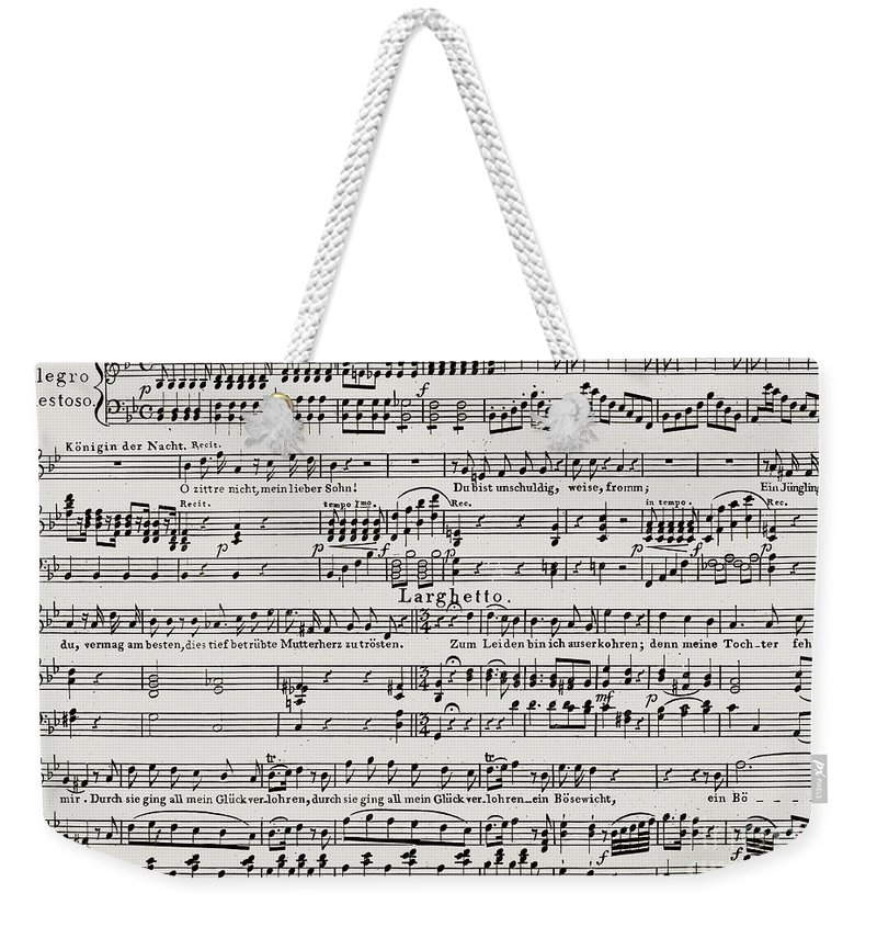 Larghetto Weekender Tote Bag featuring the drawing Aria For The Queen Of The Night, In Act I Of Wolfgang Amadeus Mozart 's Opera The Magic Flute by Wolfgang Amadeus Mozart