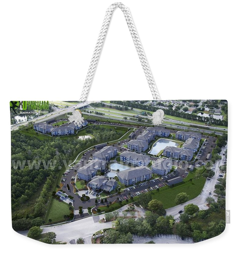 Architectural Rendering Studio Weekender Tote Bag featuring the mixed media Arial View Exterior Rendering Design Ideas by Yantram Architectural Design Studio