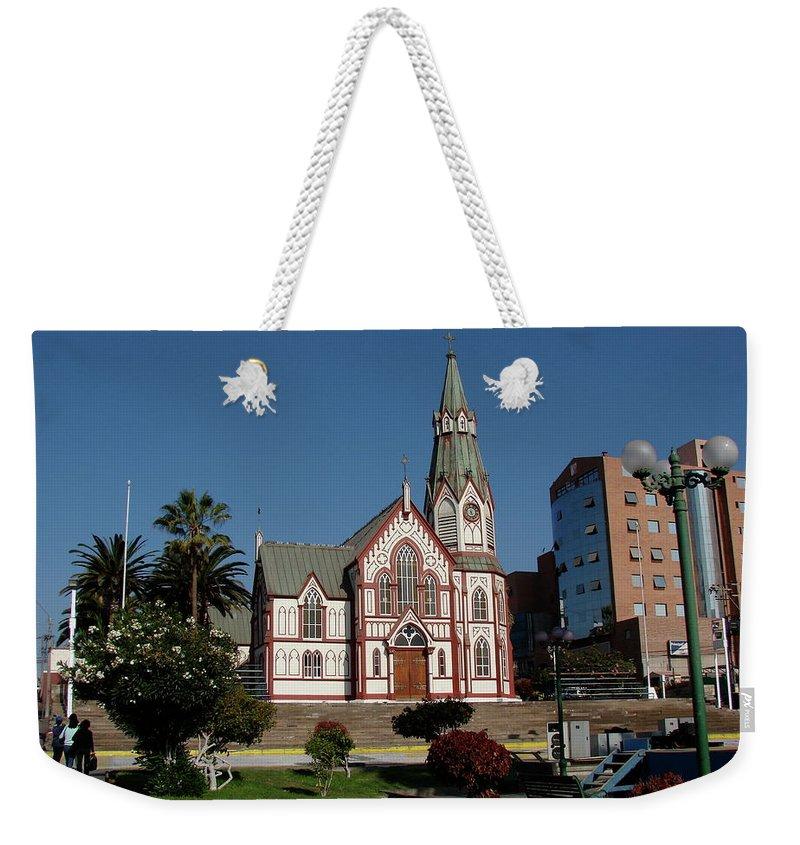 Arica Weekender Tote Bag featuring the photograph Arica Chile Church by Brett Winn
