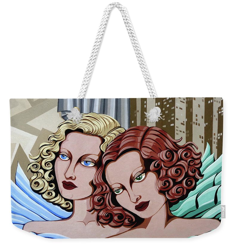 Portrait Weekender Tote Bag featuring the painting Arielle And Gabrielle by Tara Hutton