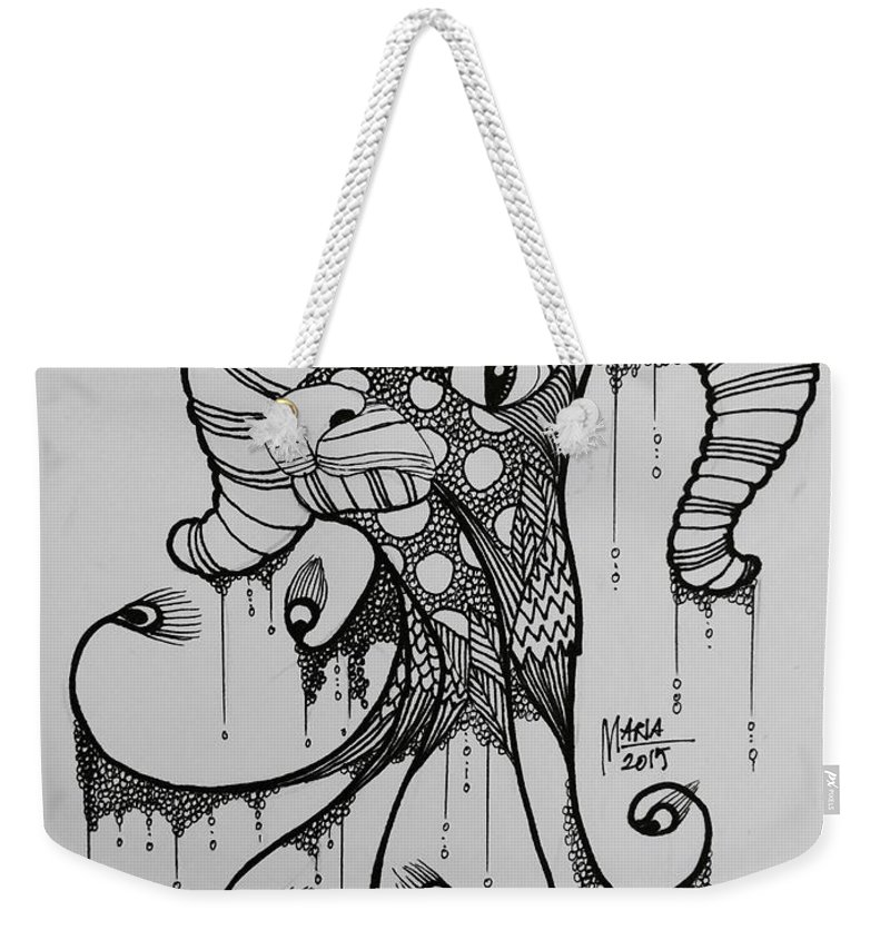 Zodiac Weekender Tote Bag featuring the drawing Aries by Maria Leah Comillas