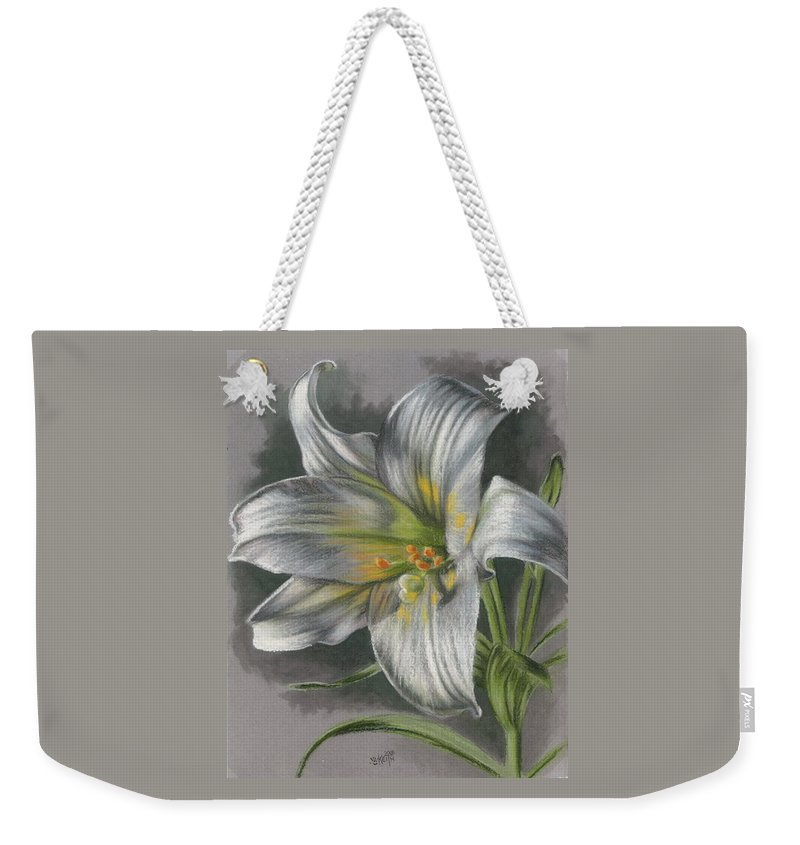 Easter Lily Weekender Tote Bag featuring the mixed media Arise by Barbara Keith