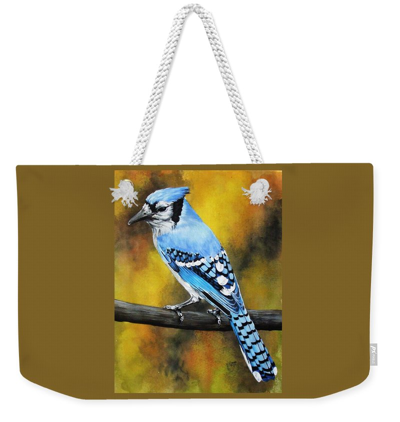 Common Bird Weekender Tote Bag featuring the painting Aristocrat by Barbara Keith