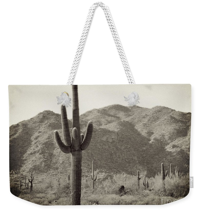 White Tank Sunset Weekender Tote Bag featuring the photograph Arizona Desert by Methune Hively