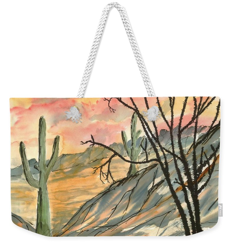 Drawing Weekender Tote Bag featuring the painting Arizona Evening Southwestern Landscape Painting Poster Print by Derek Mccrea