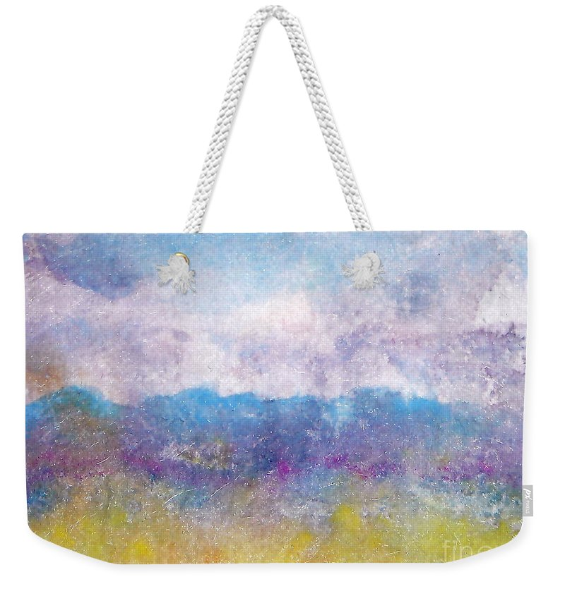 Abstract Weekender Tote Bag featuring the painting Arizona Impressions by Jan Bennicoff