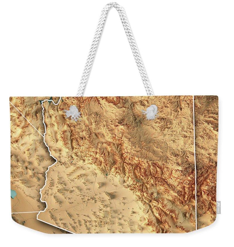 Arizona Weekender Tote Bag featuring the digital art Arizona State USA 3D Render Topographic Map Border by Frank Ramspott