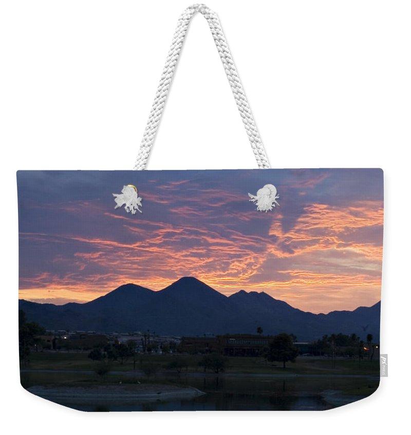 Arizona Weekender Tote Bag featuring the photograph Arizona Sunset 2 by Renee Hong