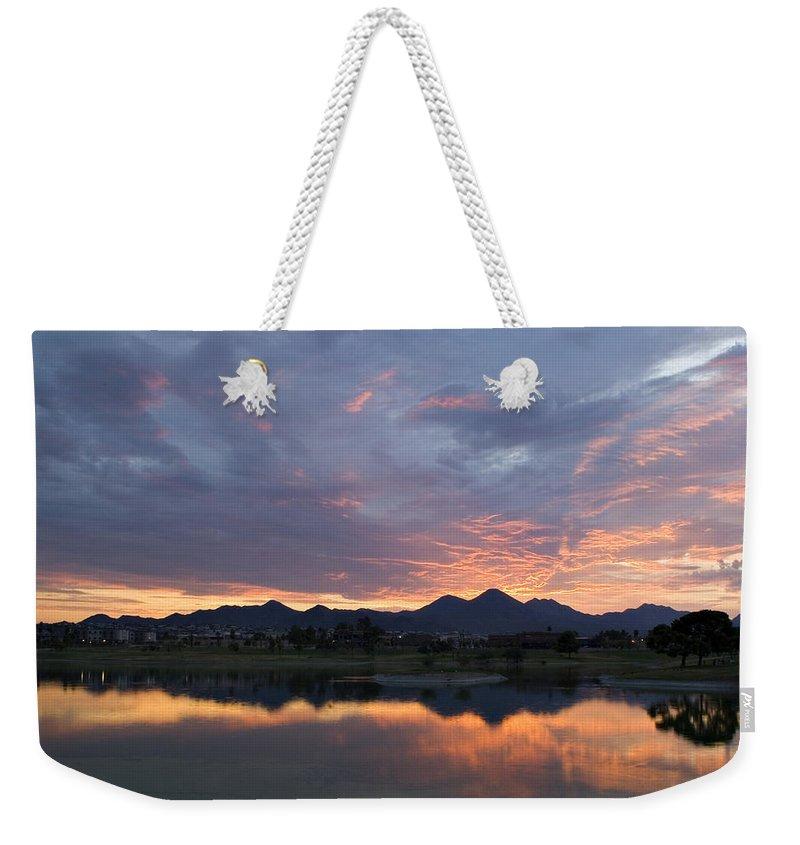 Arizona Weekender Tote Bag featuring the photograph Arizona Sunset by Renee Hong