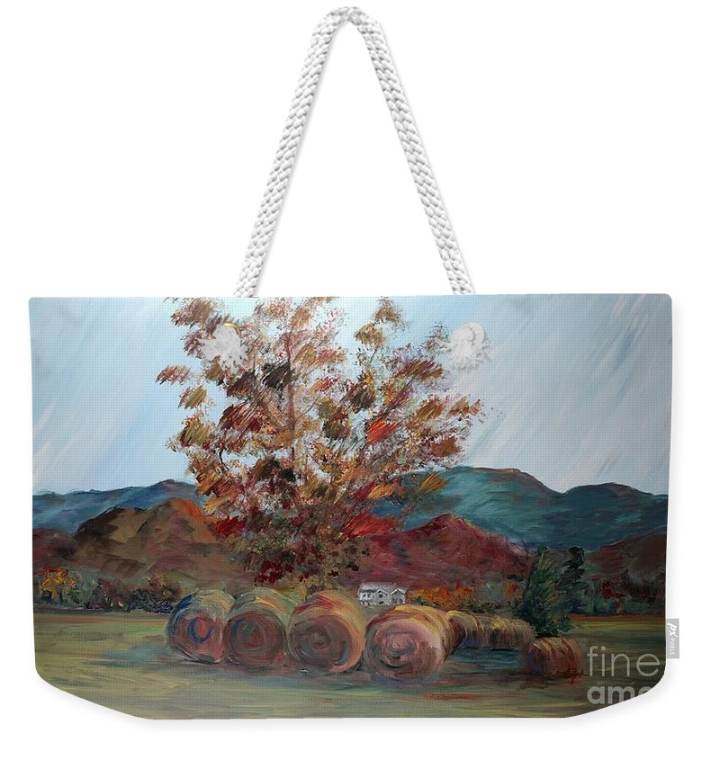 Autumn Weekender Tote Bag featuring the painting Arkansas Autumn by Nadine Rippelmeyer