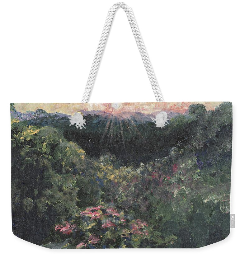 Landscape Weekender Tote Bag featuring the painting Arkansas Mountain Sunset by Nadine Rippelmeyer
