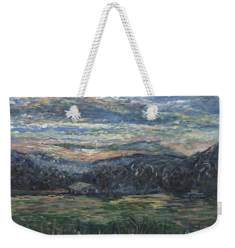 Impressionism Weekender Tote Bag featuring the painting Arkansas Sunrise by Nadine Rippelmeyer
