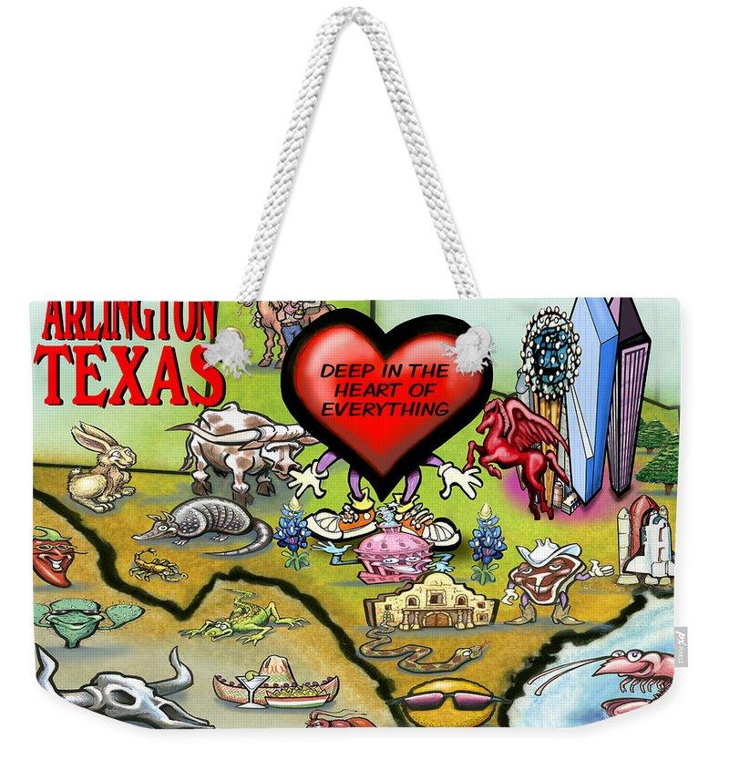 Arlington Weekender Tote Bag featuring the digital art Arlington Texas Cartoon Map by Kevin Middleton