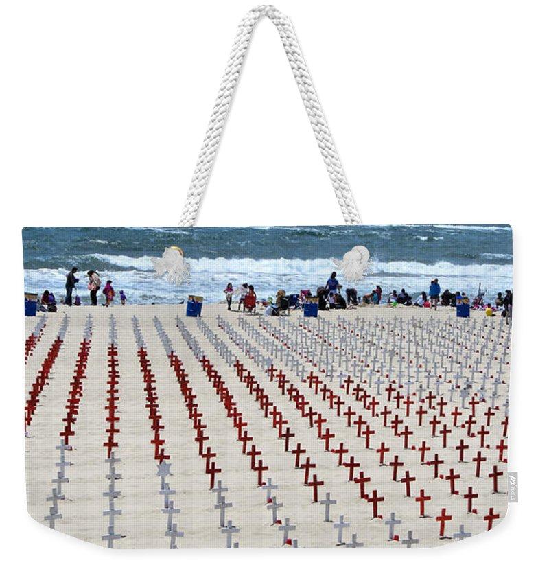 Memorial Weekender Tote Bag featuring the photograph Arlington West Santa Monica by Julie Niemela