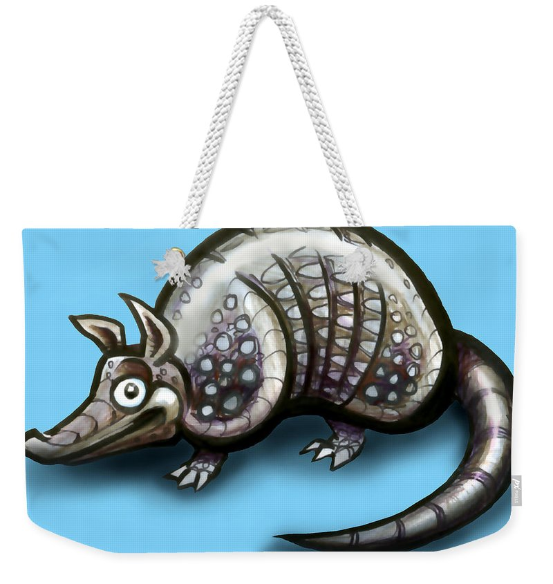 Armadillo Weekender Tote Bag featuring the greeting card Armadillo by Kevin Middleton