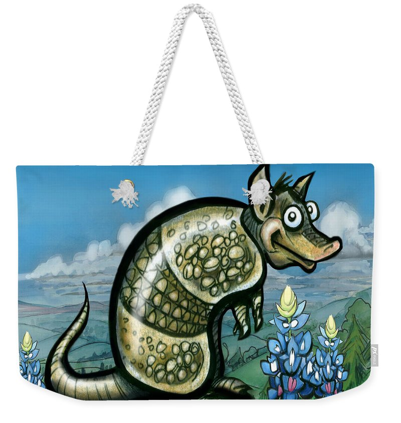 Armadillo Weekender Tote Bag featuring the painting Armadillo N Bluebonnets by Kevin Middleton