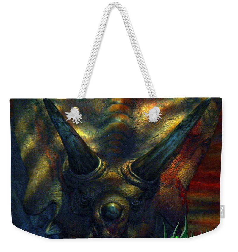 Dinosaur Armour Triceratops Extinct Dinosaurs Herbivorous Cretaceous Period Weekender Tote Bag featuring the photograph Armour Plated by Andrea Lawrence