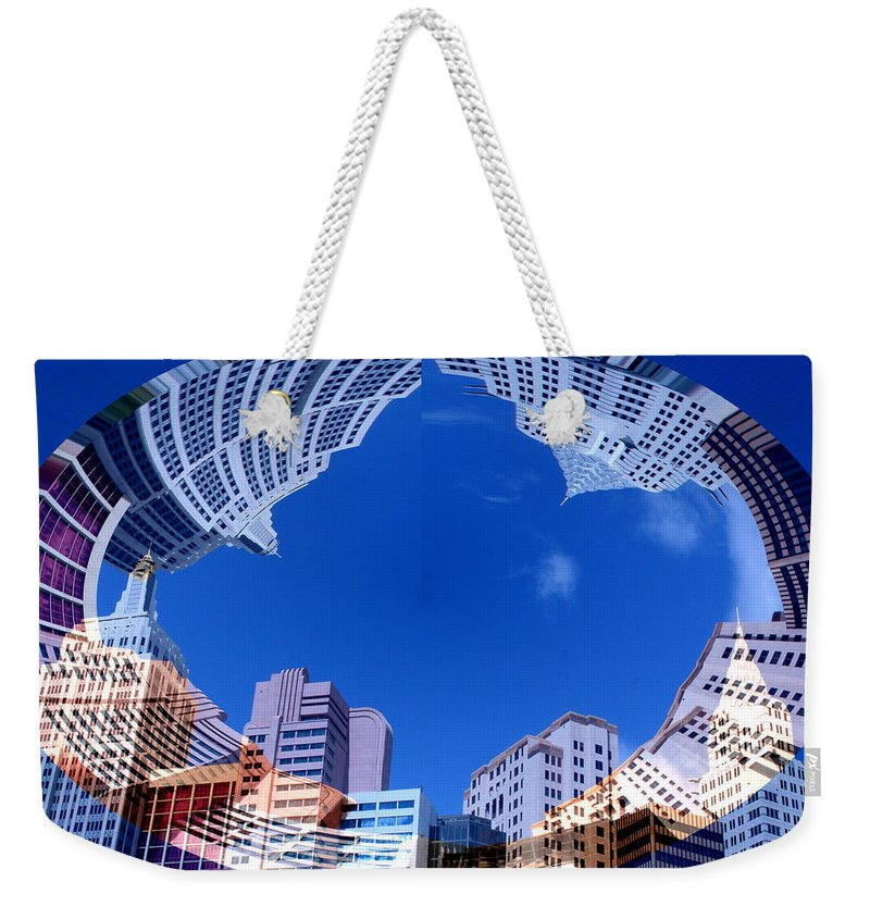 New York City Sky Line Las Vegas Sky Scrapers Clouds Buildings Weekender Tote Bag featuring the photograph Around New York by Andrea Lawrence