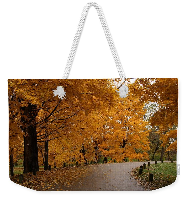 Leaves Weekender Tote Bag featuring the photograph Around The Bend by Lyle Hatch
