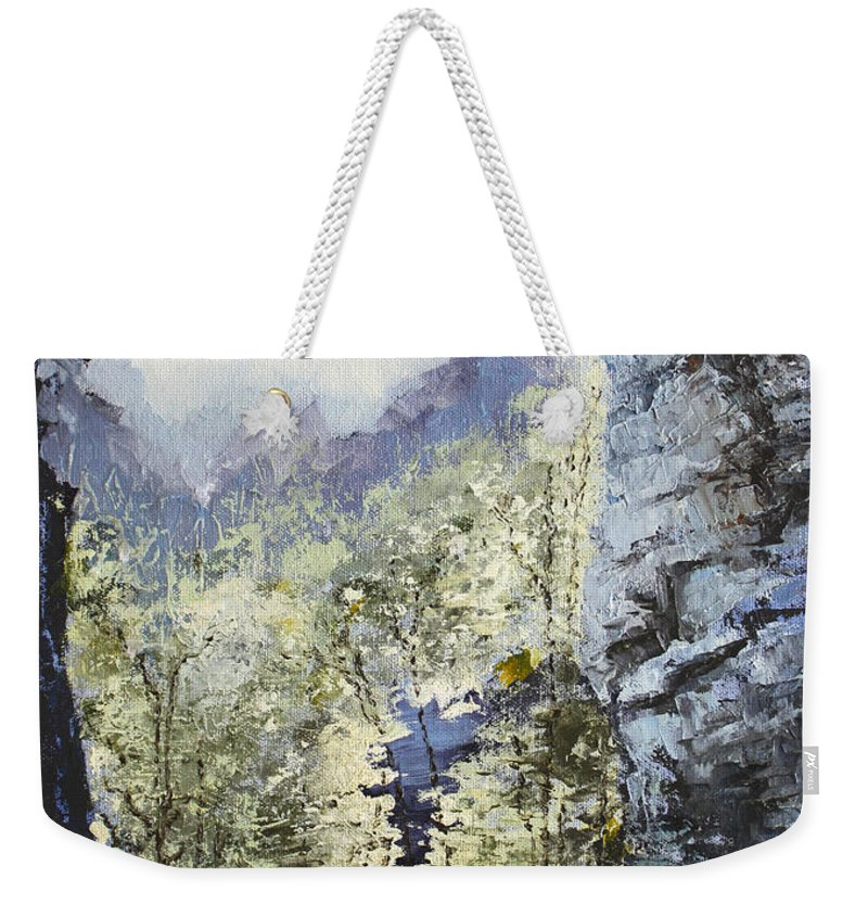 Landscape Weekender Tote Bag featuring the painting Around The Bend by Todd A Blanchard