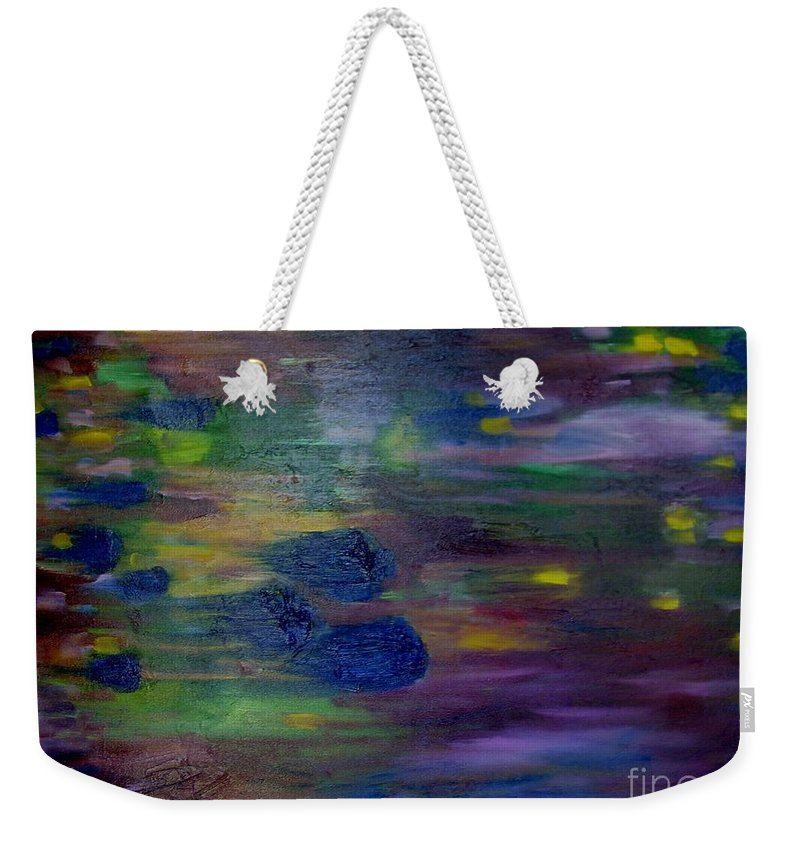 Abstract Weekender Tote Bag featuring the painting Around The Worlds by Laurie Morgan