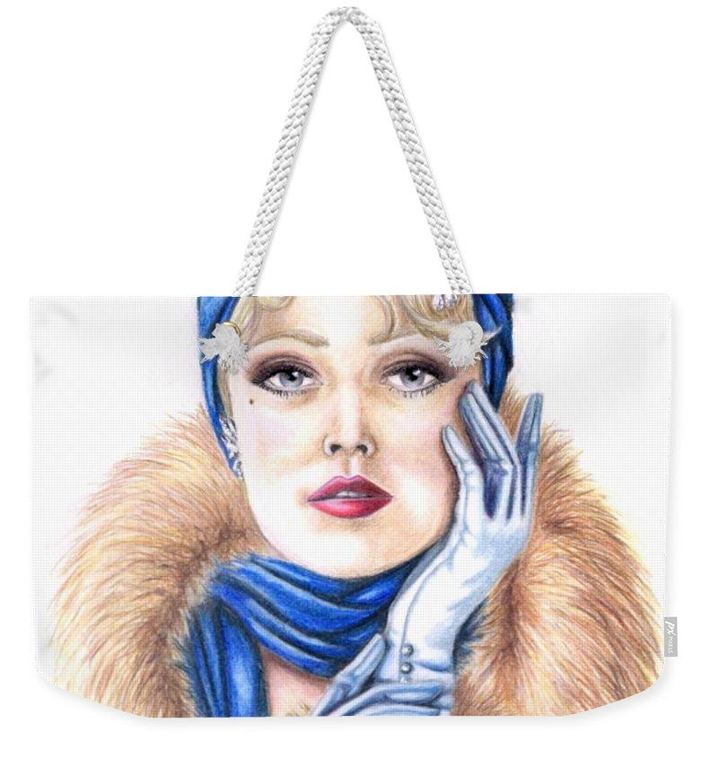 Head Shot Weekender Tote Bag featuring the drawing Aroura by Scarlett Royal