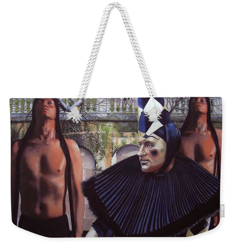 Male Figurative Weekender Tote Bag featuring the painting Arousing Suspicion by Denny Bond