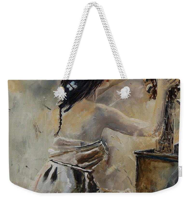 Girl Weekender Tote Bag featuring the painting Arranging Flowers by Pol Ledent