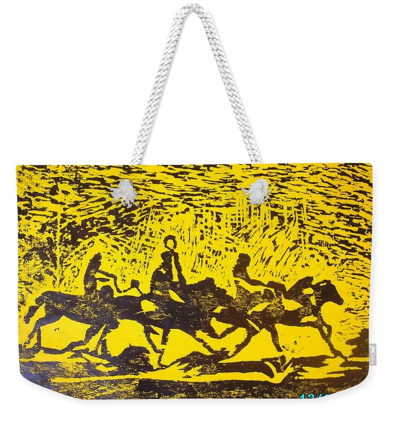 Arrival Weekender Tote Bag featuring the mixed media Arrival by Olaoluwa Smith