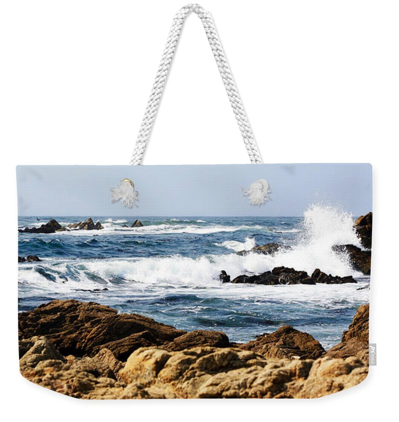 Tide Weekender Tote Bag featuring the photograph Arriving Tide At Pebble Beach by Marilyn Hunt