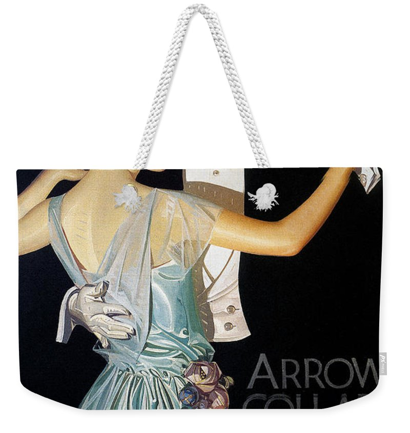 1923 Weekender Tote Bag featuring the photograph Arrow Shirt Collar Ad, 1923 by Granger