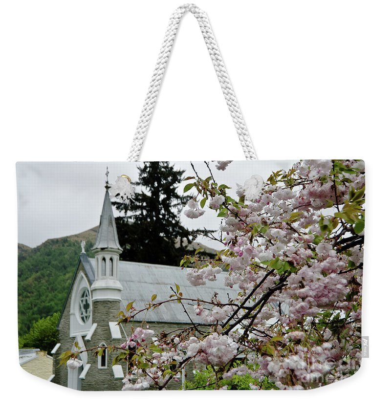 Queenstown Weekender Tote Bag featuring the photograph Arrowtown Church On A Rainy Day, New Zealand by Yurix Sardinelly