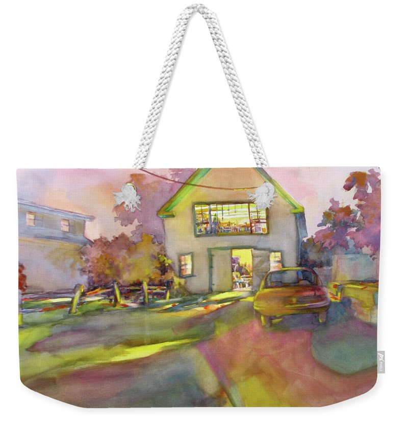Landscape Weekender Tote Bag featuring the painting Art Barn, Port Clyde by Virgil Carter