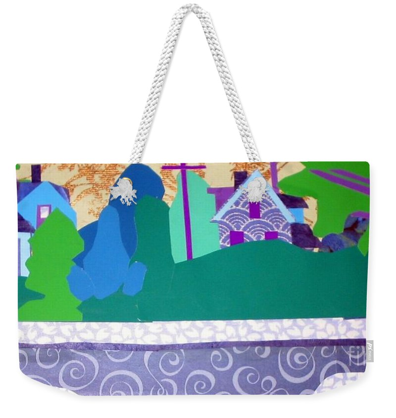 Landscape Weekender Tote Bag featuring the mixed media Art Colony by Debra Bretton Robinson