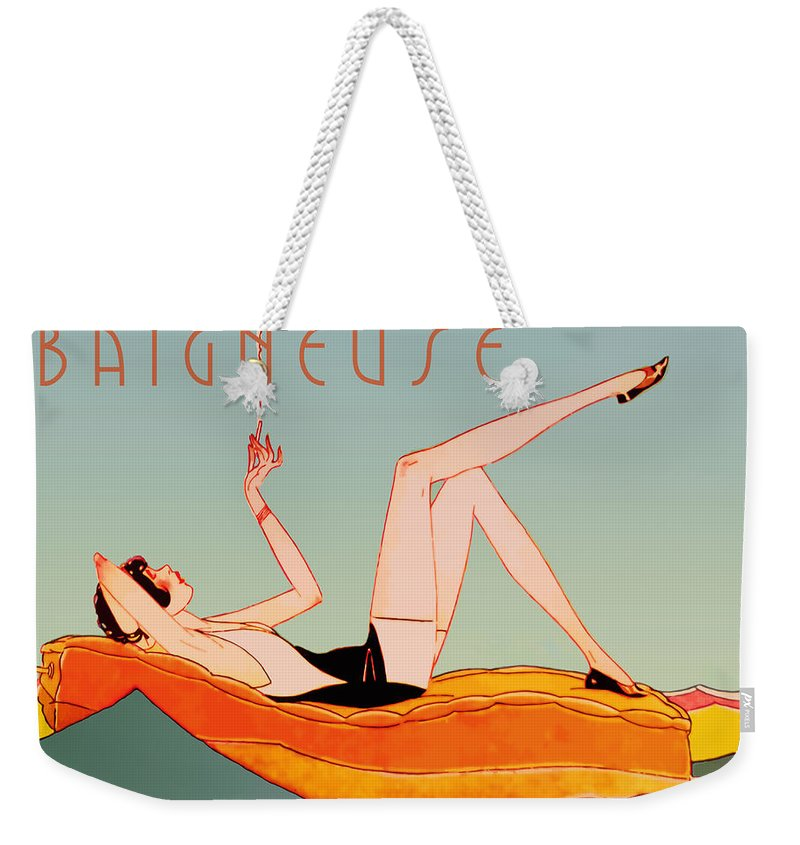 Art Deco Weekender Tote Bag featuring the painting Art Deco Beach Bather by Mindy Sommers