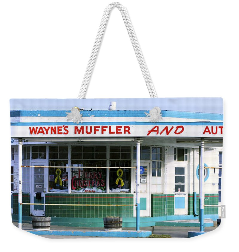 Americana Weekender Tote Bag featuring the photograph Art Deco Filling Station 1 by Marilyn Hunt