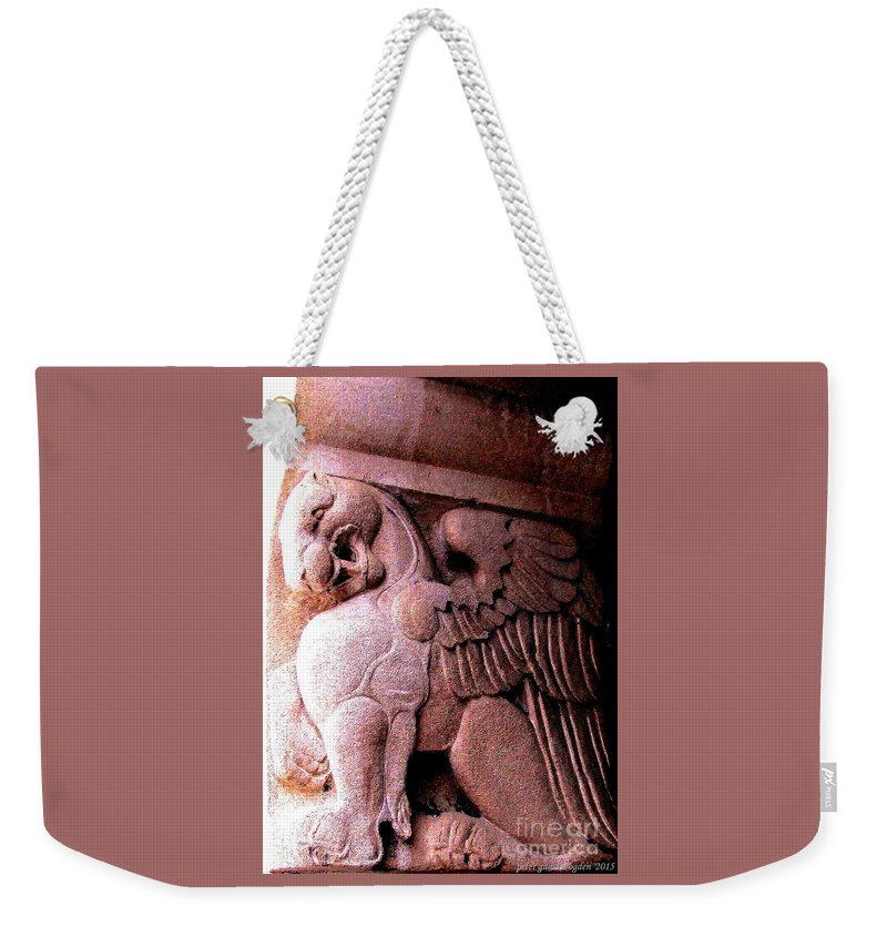 Winged Griffin Photograph Weekender Tote Bag featuring the photograph Art Deco Griffin Circa 1925 by Peter Ogden