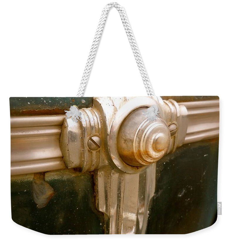 1941 Weekender Tote Bag featuring the photograph Art Deco Olds Trim by Customikes Fun Photography and Film Aka K Mikael Wallin