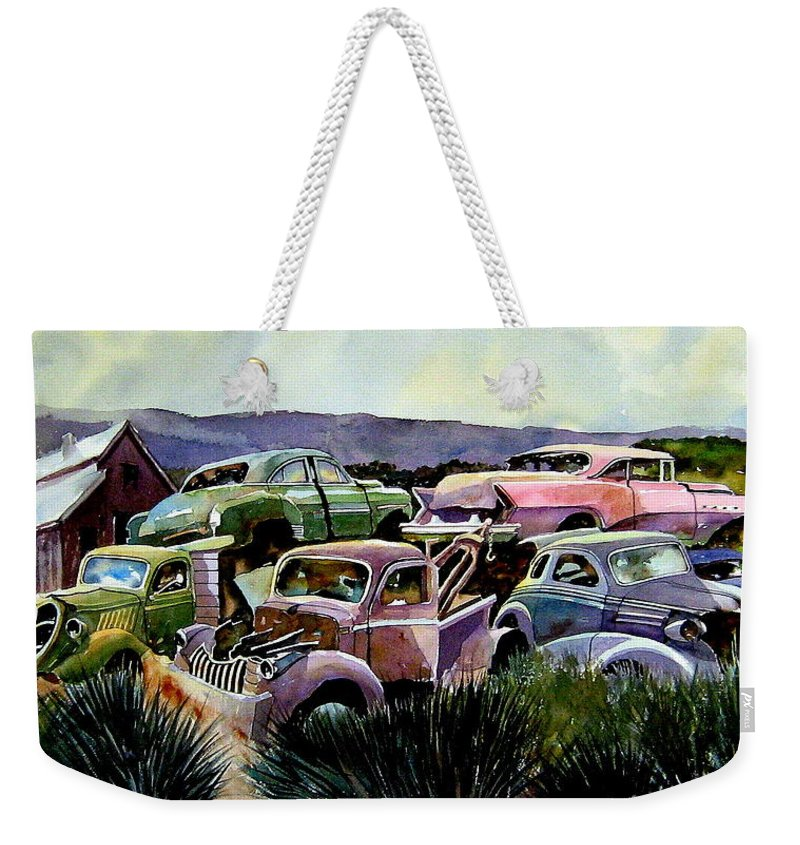 Cars Weekender Tote Bag featuring the painting Art In The Orchard by Ron Morrison