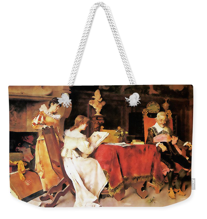 People Weekender Tote Bag featuring the painting Art Lesson by Media Impasto Paper