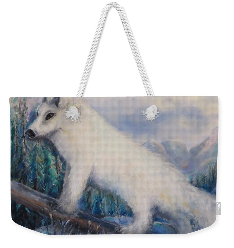 Artic Weekender Tote Bag featuring the painting Artic Fox by Bernadette Krupa