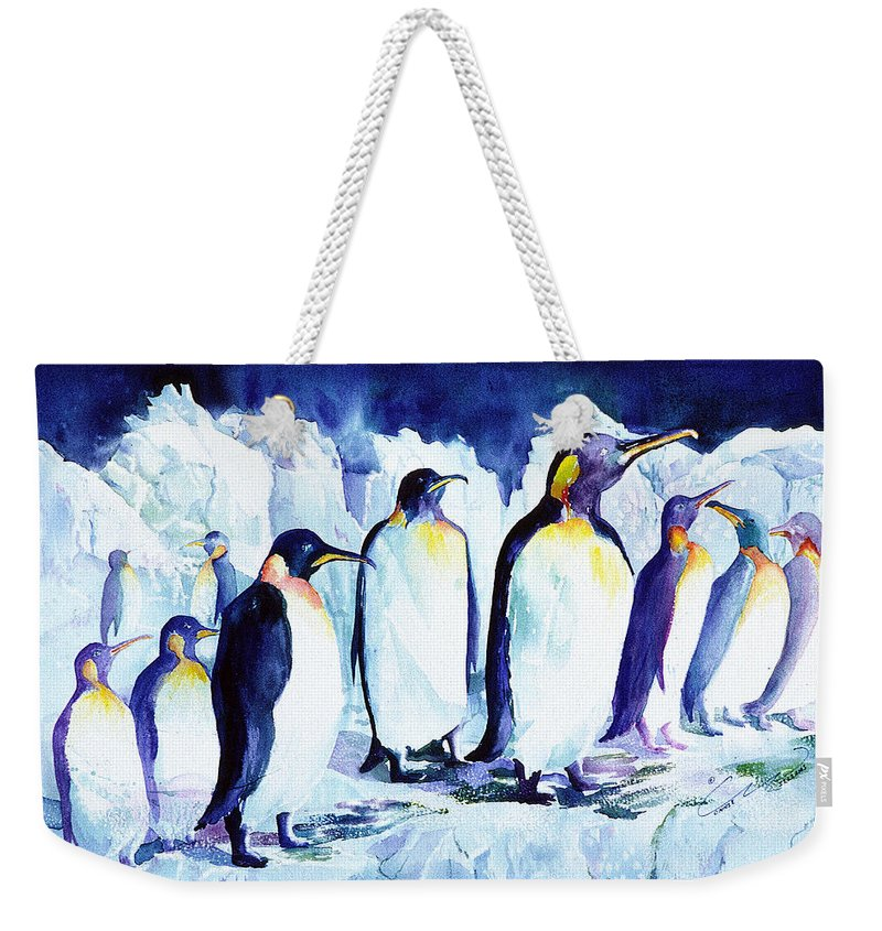 Penquins Weekender Tote Bag featuring the painting Arctic Penquins by Connie Williams