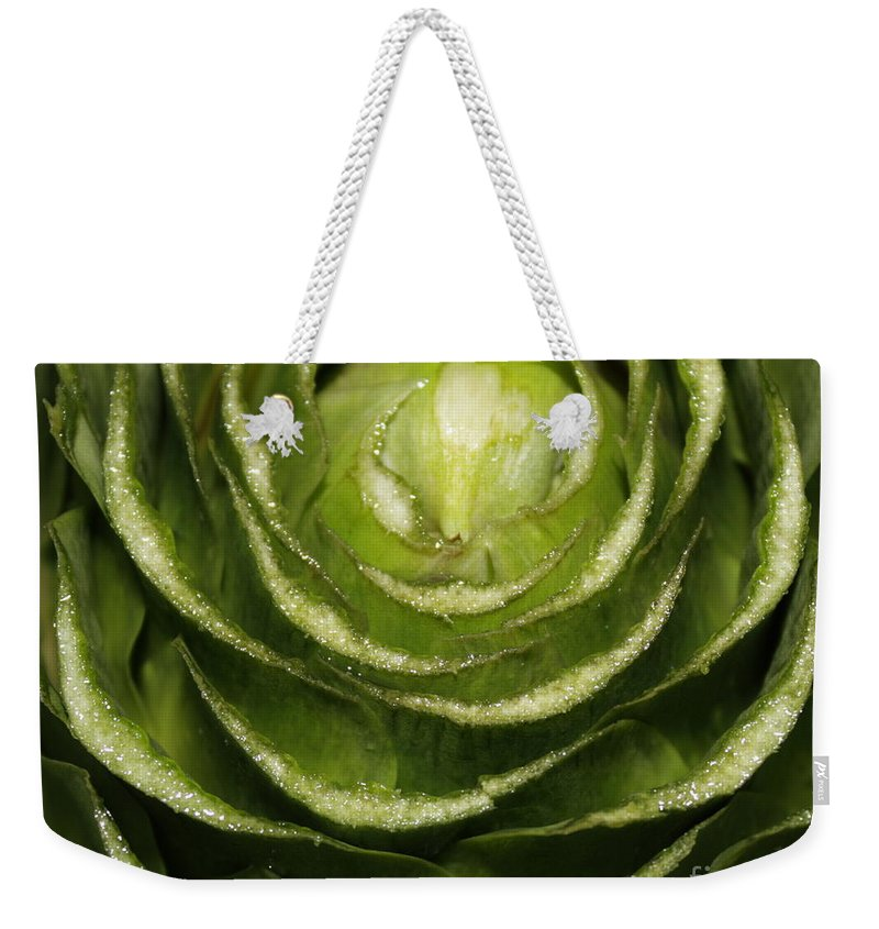 Veggies Weekender Tote Bag featuring the photograph Artichoke Close-up by Carol Groenen
