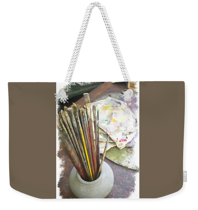 Artist Weekender Tote Bag featuring the photograph Artist Brushes by Margie Wildblood